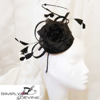 Black flower fascinator SN88